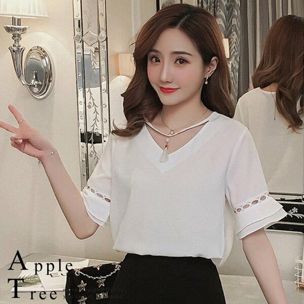 ★任2件折$200★AT日韓-流蘇造型領白色雪紡上衣【804056】
