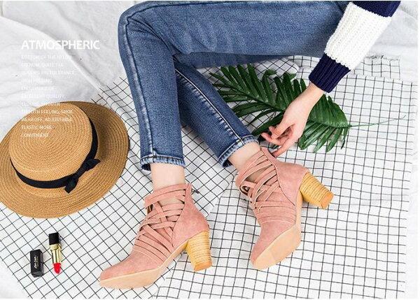 Pyf♥歐美款編織簍空高跟木紋粗跟拉鍊踝靴43大尺碼女鞋