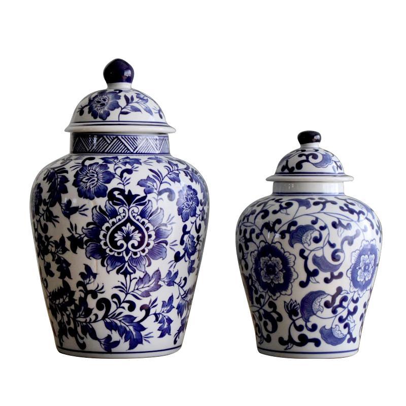 雨彤家居|陶瓷器經典青花瓷大肚罐帶蓋擺件裝飾品家居擺設