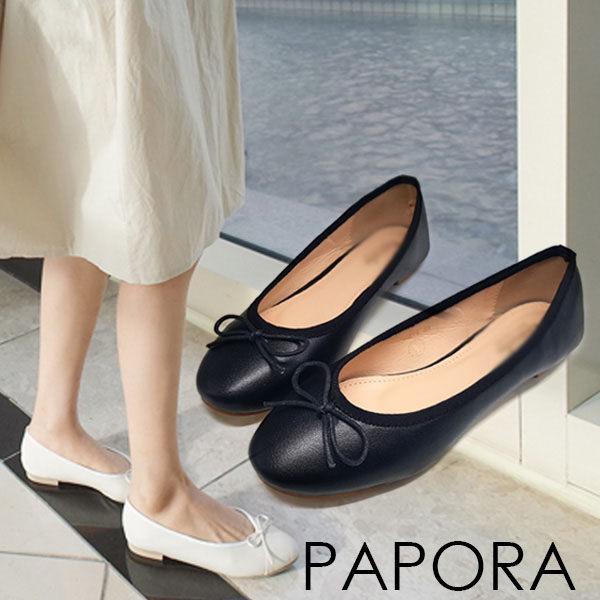 平底鞋.純色簡單明亮深V平底鞋【K366-1】黑色/米色