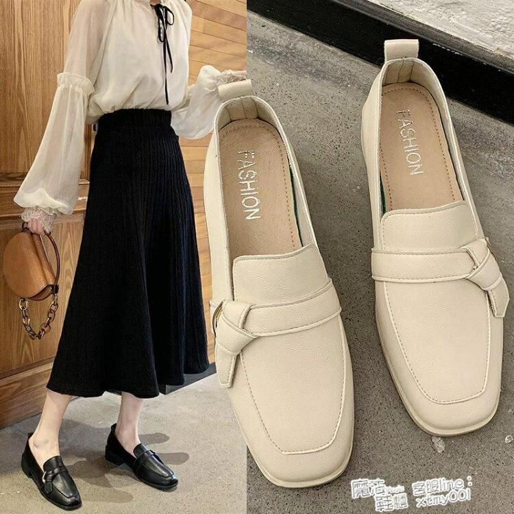 粗跟小皮鞋女英倫風新款鞋蝴蝶結女鞋百搭復古方頭單鞋 魔法鞋櫃