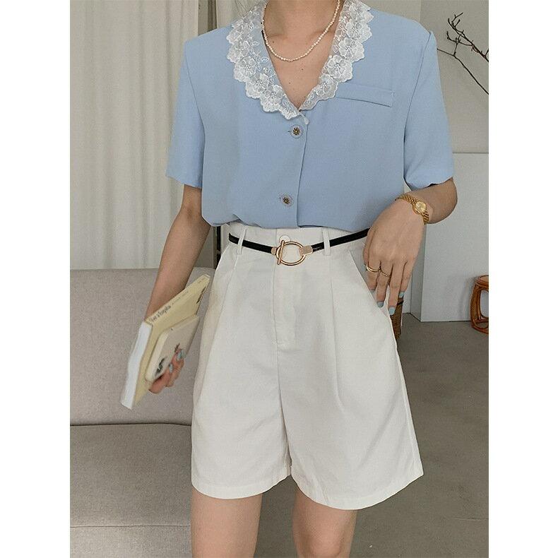法式復古刺繡襯衫女2021年夏季新款V領短袖氣質上衣