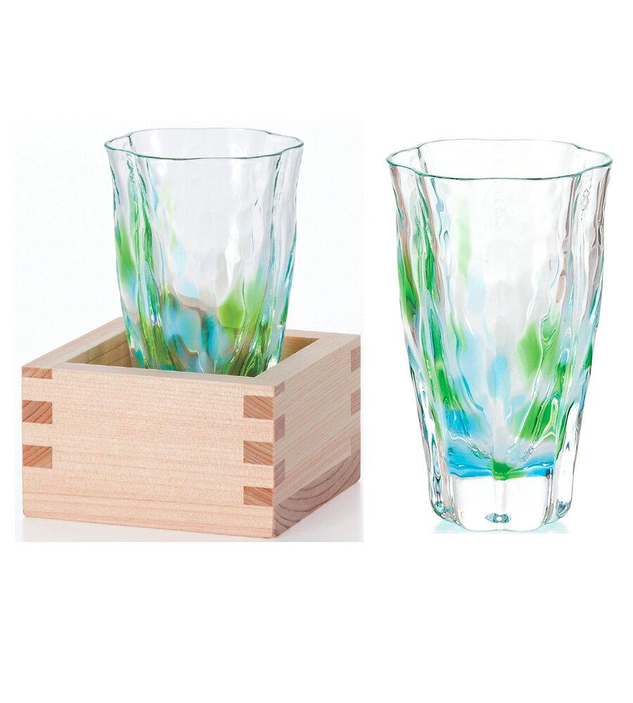 日本津輕 手作清酒杯-萌綠/山櫻黃(含木盒)/1入
