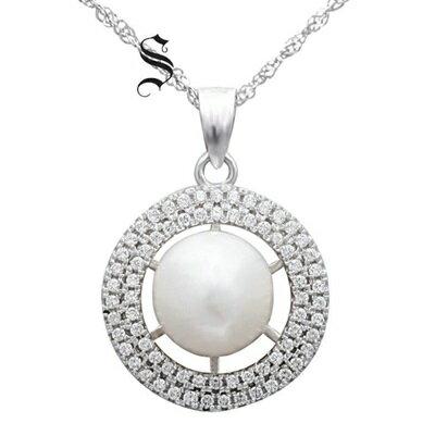 ~925純銀項鍊 珍珠吊墜~圓形鑲鑽古典優雅情人節生日 女飾品73dh21~ ~~米蘭 ~