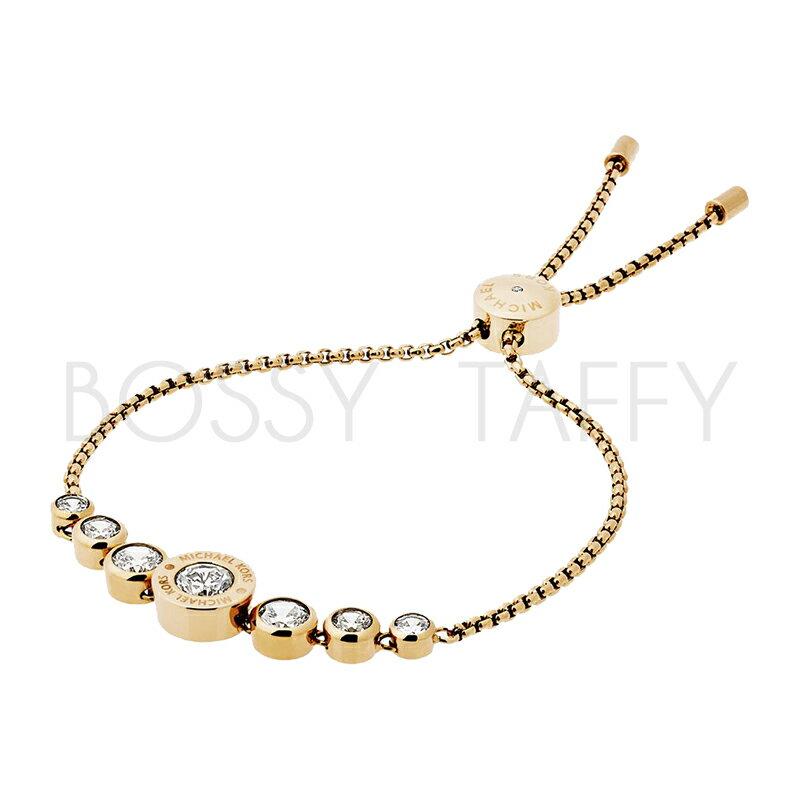 MICHAEL KORS 時尚金鑲鑽可調式手鍊 MK Cubic Zirconia Gold-Tone Slider Bracelet