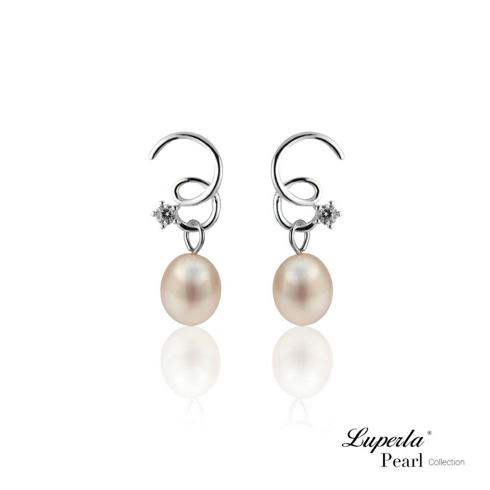 大東山珠寶 TRINITY 925純銀垂墜珍珠耳環 極致粉色 0