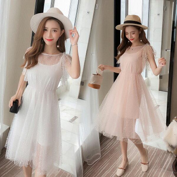 《全店75折》韓國超仙釘珠網紗吊帶大擺連身裙兩件套短袖洋裝(S-XL,2色)-梅西蒂絲(現貨+預購)