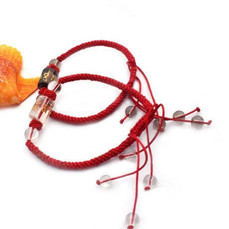 白水晶 煙晶紅繩手鏈 紅繩情侶手鏈一對 情侶禮物
