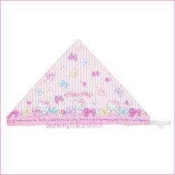 asdfkitty可愛家☆KITTY粉條紋棉質兒童用三角頭巾-角色扮演小廚師-萬聖節變裝拍照-日常烹飪-日本製