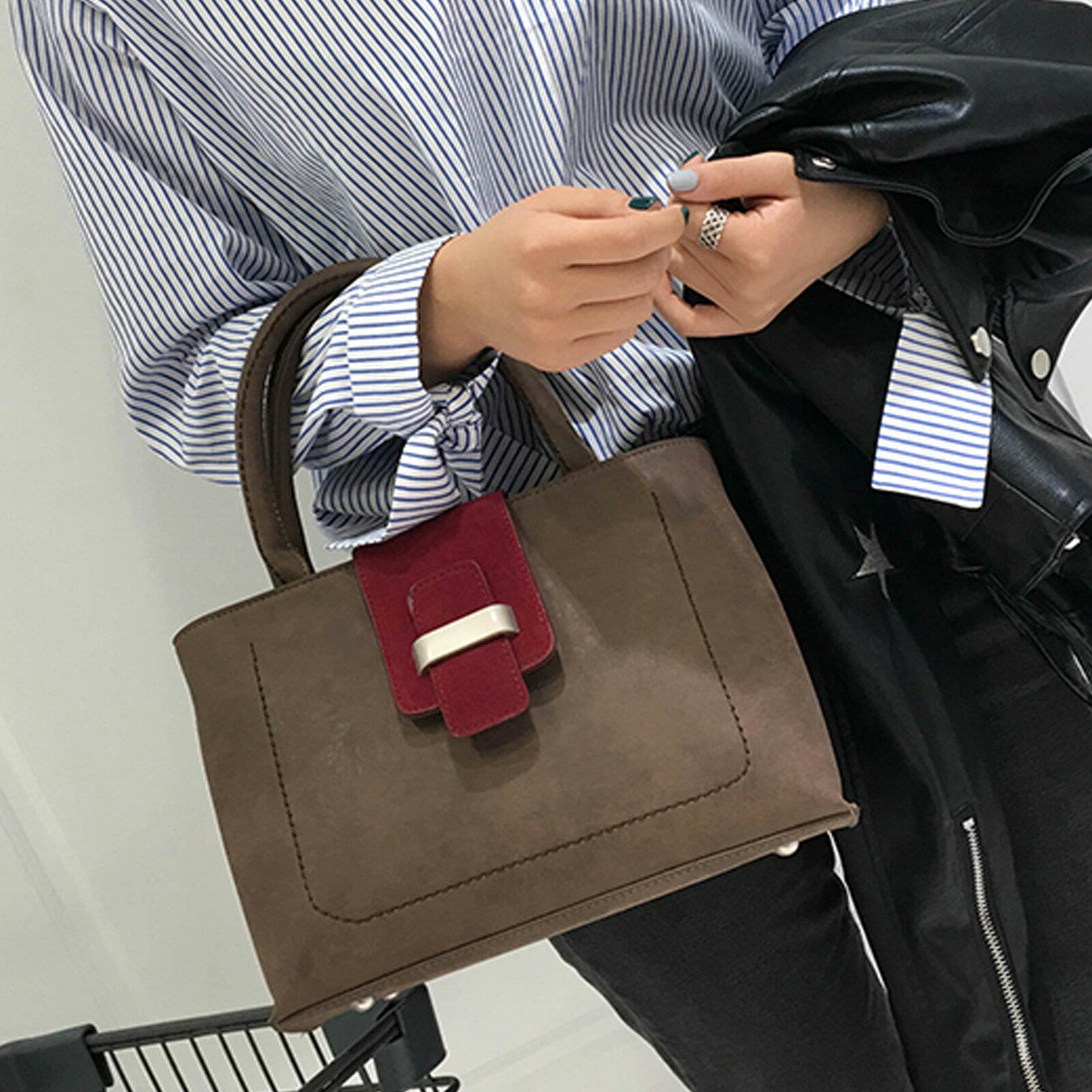 手提包 韓版大容量磨砂皮撞色手提側背包【O3208】☆雙兒網☆ 0