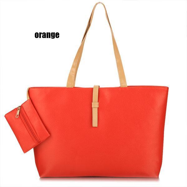 Synthetic Leather Solid Shoulder Tote Bag Handbag 5