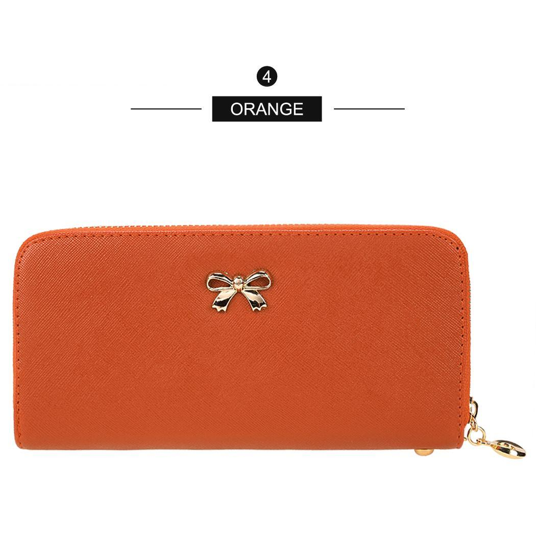 Synthetic Leather Zip Around Solid Purse Credit ID Card Holder Long Clutch Wallet with Wrist Strap 3