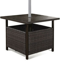 Costway Brown Rattan Wicker Steel Side Table Outdoor Furniture Deck Garden Patio Pool