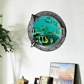 WallFree窩自在 DIY無痕創意牆貼/壁貼-3D海底世界(小丑魚)_Z-2-002