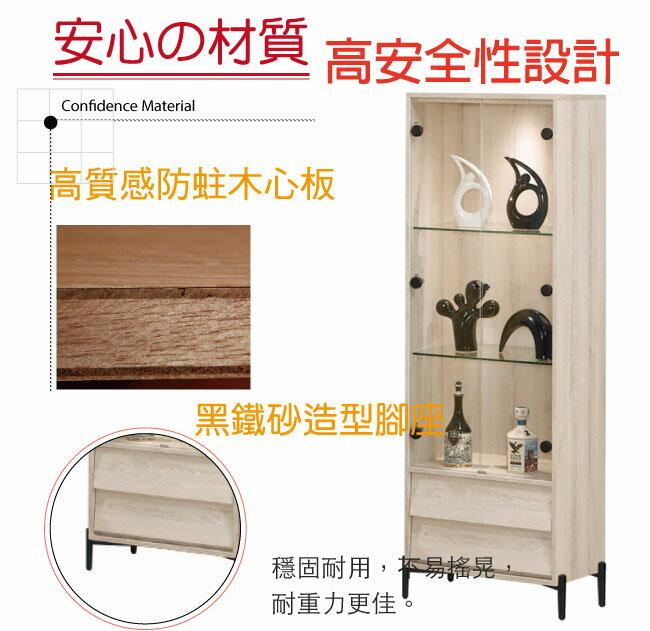 【綠家居】伊妮 現代2.2尺二門二抽展示櫃/收納櫃