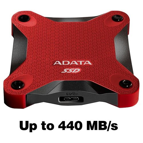 ADATA Durable SD600 3D NAND USB 3.1 External SSD 512GB Red (ASD600-512GU31-CRD) 1