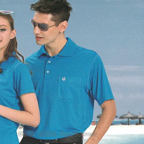 【義大利SINACOVA】男女運動休閒吸濕排汗短POLO衫-海藍條紋#S8101A2