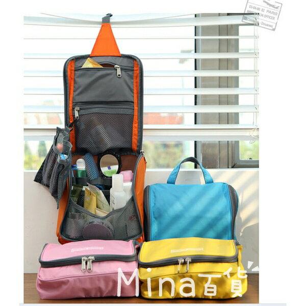 mina    旅行防水化妝包   盥洗包   收納包 收納袋 手提式 方便掛勾 B00