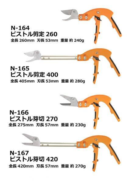 日本 螃蟹牌N-165切斷革命 手槍式剪定鋏400