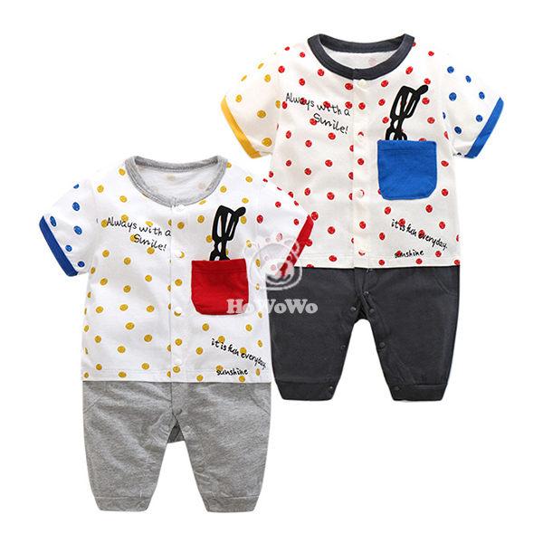 嬰兒短袖兔裝  假兩件寶寶連身裝 嬰幼兒童裝 CAB22327 好娃娃