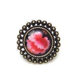 33152 韓版飾品 超熱賣 複古紅花戒指 可調節戒指 飾品