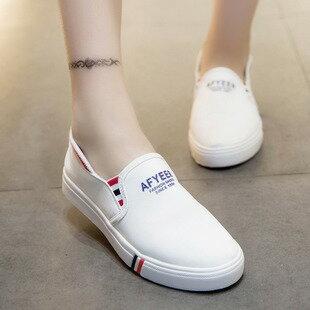 字母帆布條紋平底樂福鞋懶人鞋-灰/白/藍35-39【a521493528954】