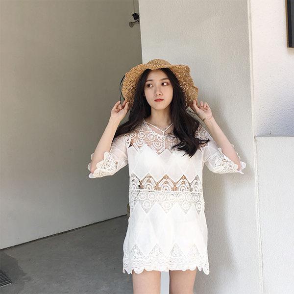 PS Mall 渡假風波浪邊鏤空防曬罩衫上衣 洋裝【T034】 0