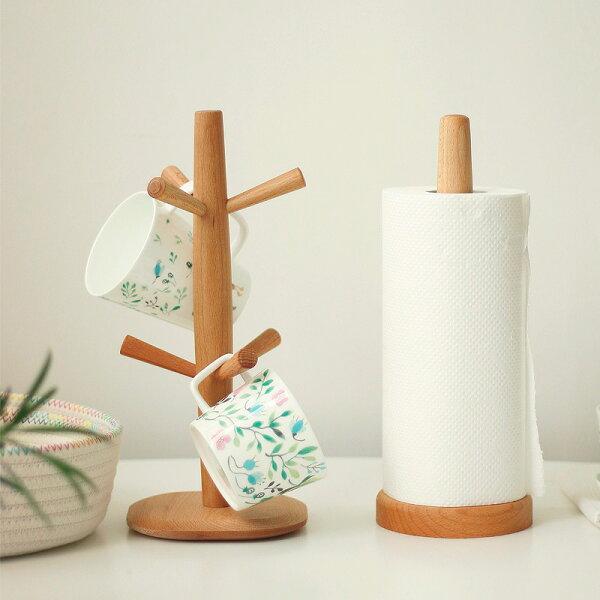涉谷嚴選ˇ實木馬克杯架創意櫸木懸掛瀝水杯架廚房收納架無漆環保設計