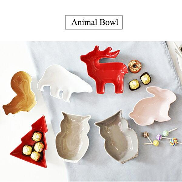 涉谷嚴選ˇ森靈創意卡通動物造型陶瓷小碗兒童餐具零食碗糖果沙拉堅果
