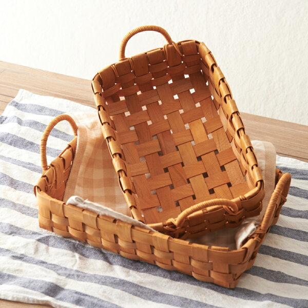涉谷嚴選ˇ闌珊日式手工木片編織籃子收納籃藤把手水果麵包籃野餐籃