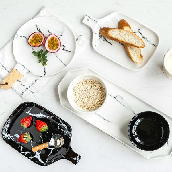 涉谷嚴選ˇ蔓延大理石紋黑白陶瓷餐具西餐盤子菜盤點心盤麵包板飯碗