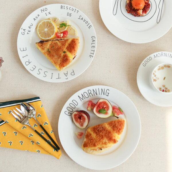 涉谷嚴選ˇ早安系列骨瓷餐盤法文西餐點心平盤盤子菜盤廚房用品