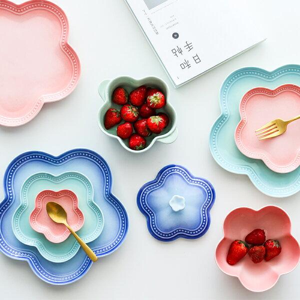 涉谷嚴選ˇ帶蓋湯碗-糖果色漸變花型陶瓷餐具西餐盤子點心碟沙拉碗湯碗