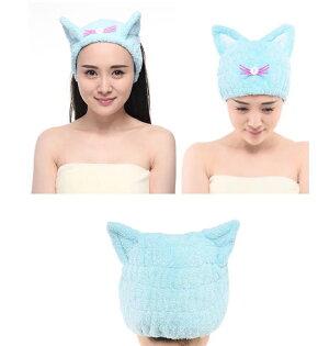 日式SP貓耳朵成人兒童幹發帽加厚速幹吸水浴帽束髮帶發箍包頭巾