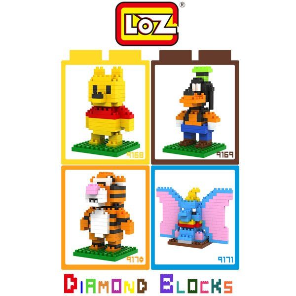 LOZ 鑽石積木-9168 - 9171 小熊維尼 / 高飛 / 跳跳虎 / 小飛象 趣味 益智 微積木