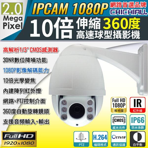 奇巧數位科技有限公司:【CHICHIAU】1080P200萬10倍速伸縮360度高速球IP網路攝影機