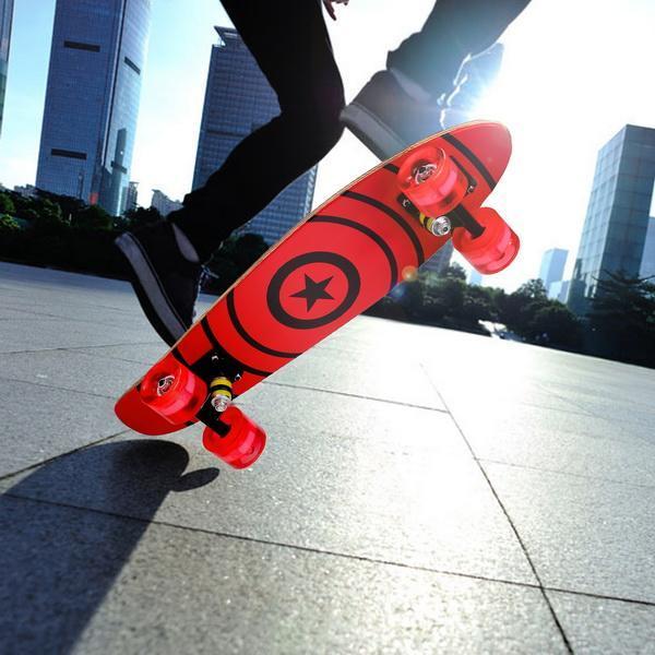 22inch Mini Cruiser Style Skateboard Outdoors Fun Wooden Skate Board with LED Light Wheels 4