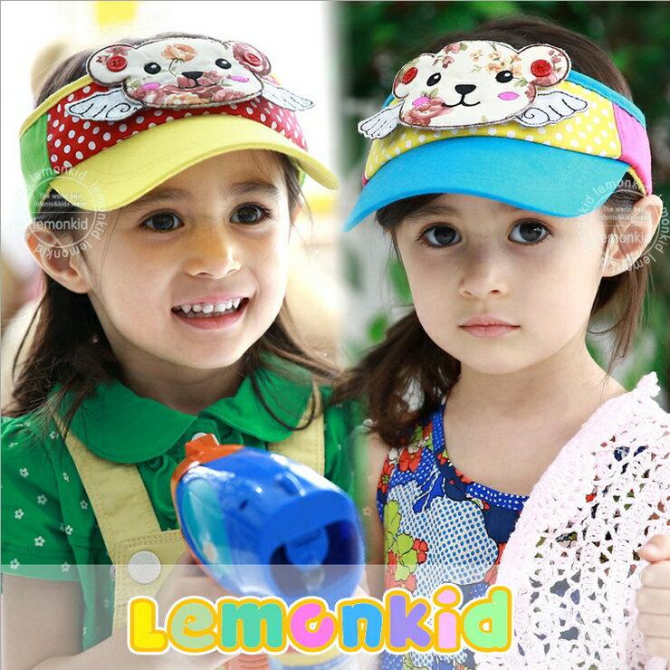 Lemonkid◆超可愛立體印花小熊翅膀點點兒童防曬空頂鴨舌帽
