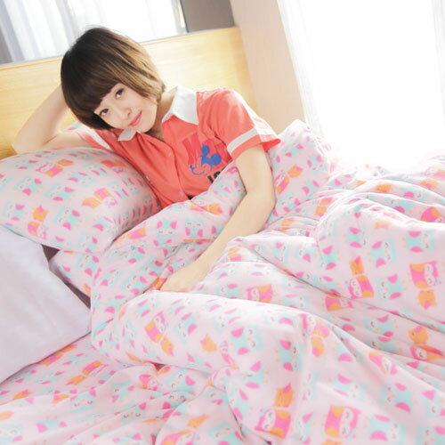 【可愛貓頭鷹】單人三件式兩用毯床包組 / 自然居家◆ 高級搖粒絨 台灣製◆ HOUXURY寢具購物網