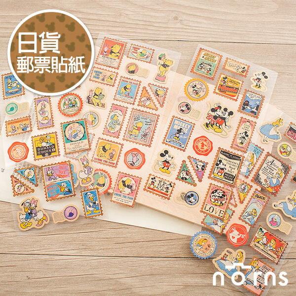 NORNS 【日貨復古郵票貼紙】迪士尼 米老鼠 維尼 愛麗絲 唐老鴨 手帳 行事曆 裝飾貼紙