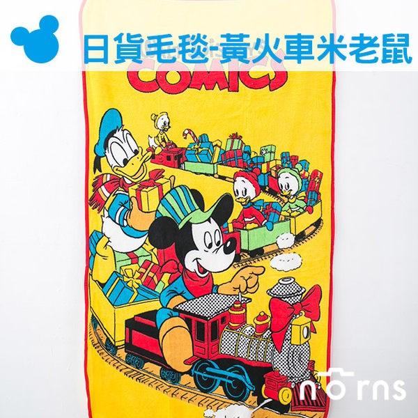 Norns:NORNS【日貨小毛毯黃色火車米老鼠】迪士尼米奇棉被懶人毯披肩暖毯無釦子