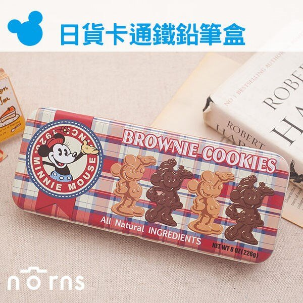 NORNS 【日貨鐵鉛筆盒 米奇格紋布朗尼】正版授權 迪士尼 米老鼠 鐵盒 筆袋 文具