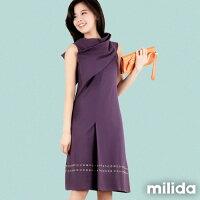 時尚洋裝 小禮服推薦到【Milida,全店七折免運】-夏季商品-無袖款-高雅立領洋裝