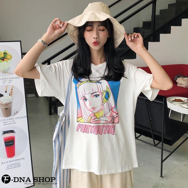 F-DNA★卡通少女印花圓領短袖上衣T恤(白-M-2XL)【ET12709】 3