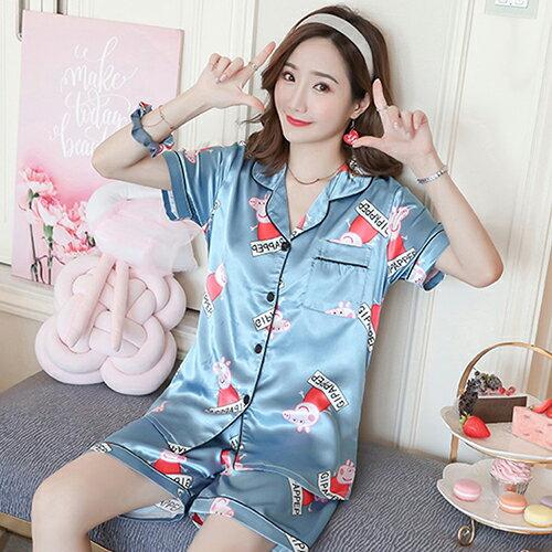 日系冰絲綢兩件套裝短袖家居服(2色M~2XL)【OREAD】 1
