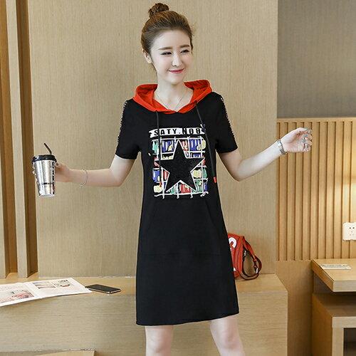*ORead*寬鬆印花燙鑽針織連身裙(黑色S~3XL)