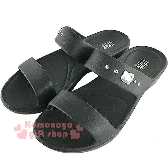 〔小禮堂〕Hello Kitty 雙帶室內拖鞋~黑.銀大臉~休閒拖鞋