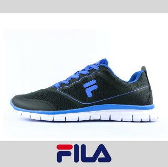 萬特戶外運動 FILA 1-J934P-033 男款運動慢跑鞋 室內訓練 輕量舒適 透氣 黑藍色