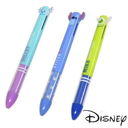 =優生活=日本進口 迪士尼 可愛文具雙色筆 怪獸大學 大眼仔 毛怪 史迪奇 黑藍兩色原子筆