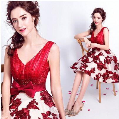 天使嫁衣【AE5908】紅色V領雙肩大蝴蝶結收腰特色裙擺短禮服˙預購訂製款
